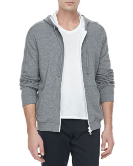 Vince Jersey-Lined Heather Hoodie, Charcoal