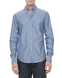 Vince Solid Oxford Shirt, Mineral Blue