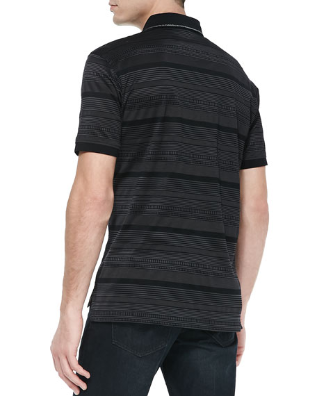 Updrift Multi-Stripe Polo, Black