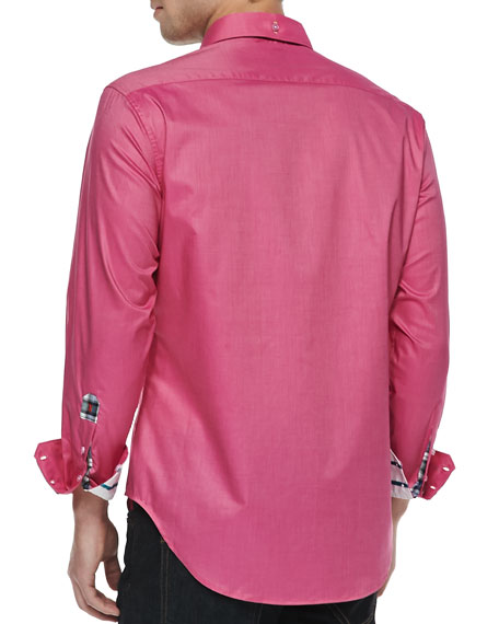 My Lemurs Long-Sleeve Sport Shirt, Raspberry