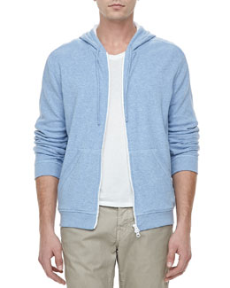 Vince Jersey-Lined Heather Hoodie, Light Blue
