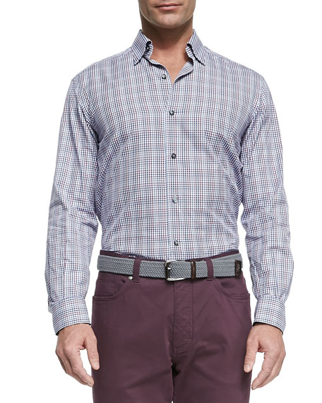 Open Plaid Print Sport Shirt, Multi