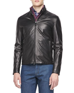 Ermenegildo Zegna Leather Moto Jacket, Black