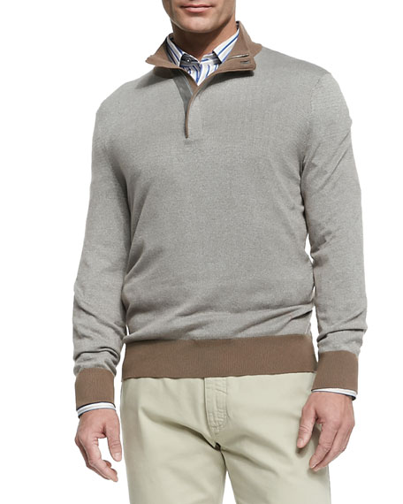 Quarter Zip Pullover, Beige