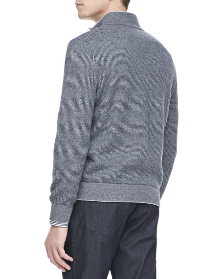 Quarter-Zip Pullover Sweater, Navy/Gray
