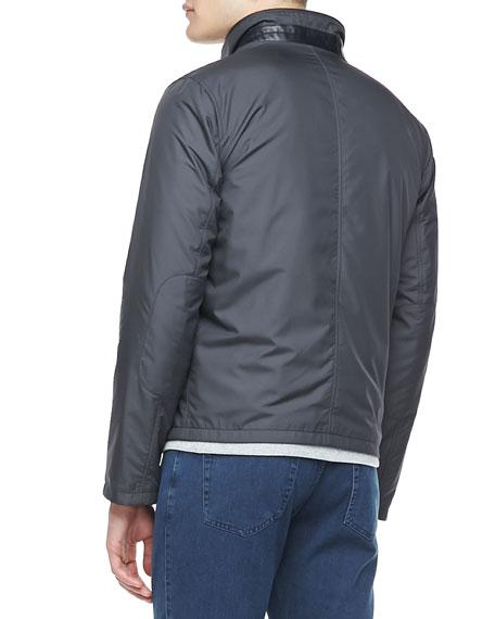 Reversible Zip-Front Blouson Jacket, Navy/Charcoal