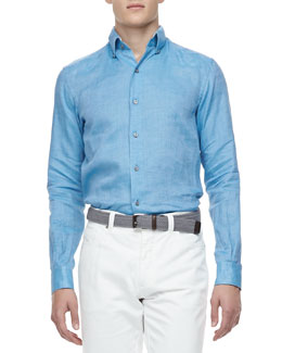 Ermenegildo Zegna Solid Linen Sport Shirt, Turquoise