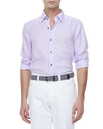 Ermenegildo Zegna Linen Sport Shirt, Lavender