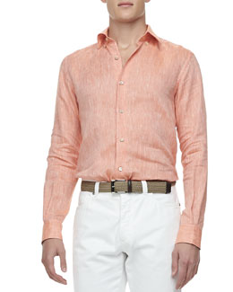Ermenegildo Zegna Solid Linen Sport Shirt, Orange