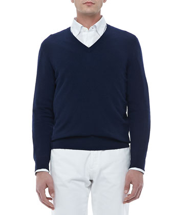 V-Neck Pullover Sweater, Navy
