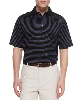 Peter Millar Marcy Striped-Lisle Polo, Black