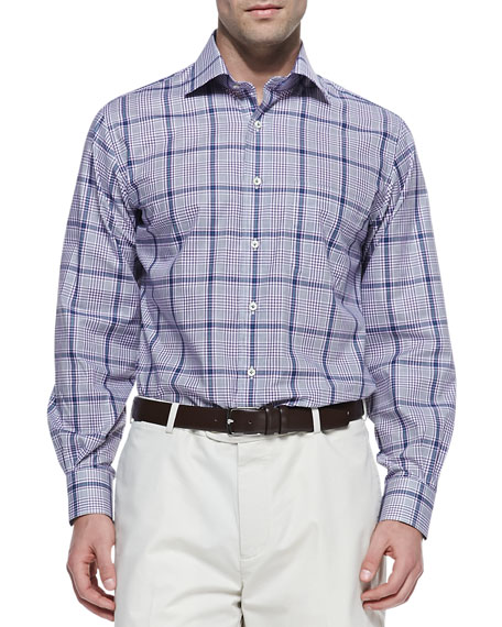 Glen Plaid Button-Down Shirt, Purple