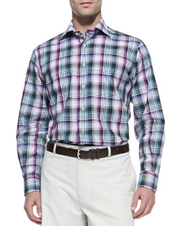 Peter Millar Plaid Button-Down Shirt, Purple