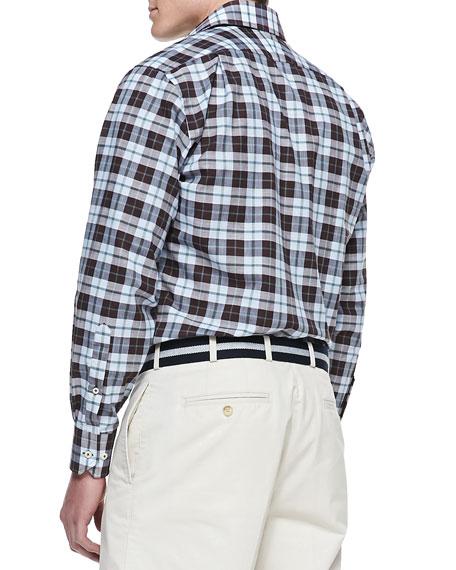 Chambray Plaid Shirt, Blue
