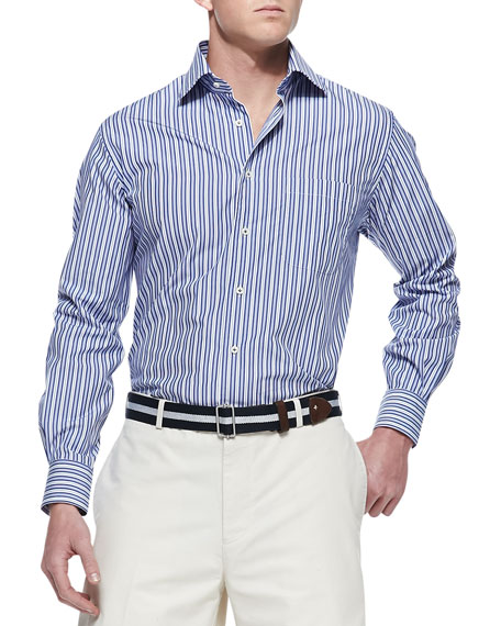 Awning Striped Sport Shirt, Navy
