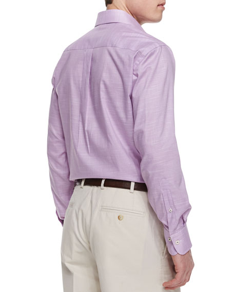 Melange Houndstooth Sport Shirt, Purple