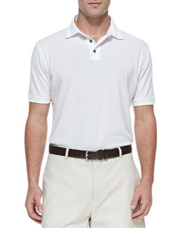 Peter Millar Cotton Pique Polo, White