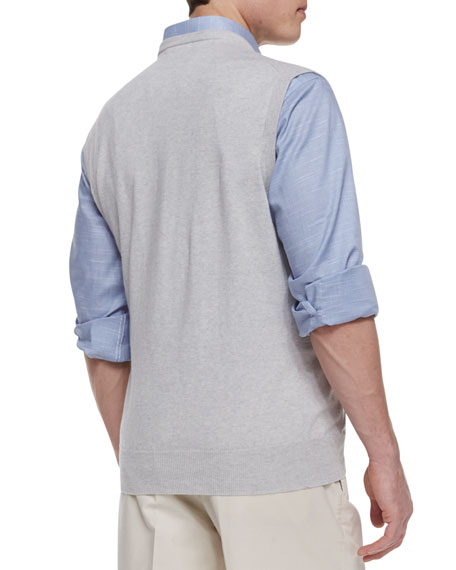 V-Neck Sweater Vest, Gray