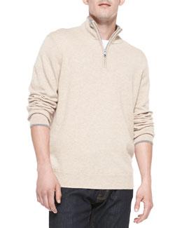 Neiman Marcus Cashmere 1/4-Zip Pullover Sweater, Beige