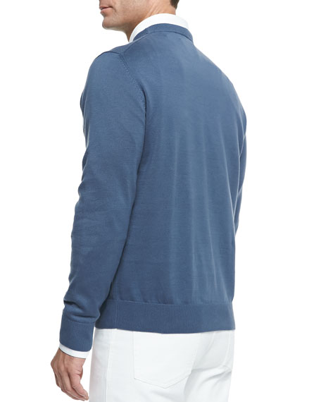 Cotton Crewneck Pullover Sweater, Blue