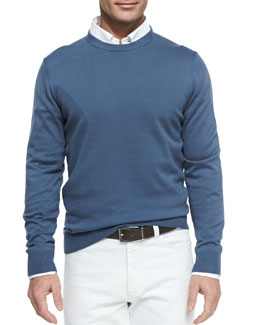 Neiman Marcus Cotton Crewneck Pullover Sweater, Blue