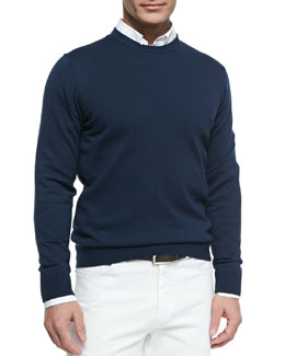 Neiman Marcus Cotton Crewneck Pullover Sweater, Navy Blue