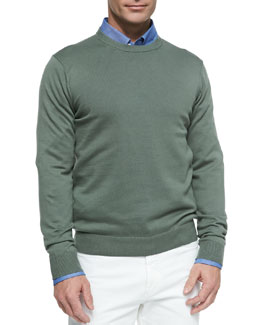 Neiman Marcus Cotton Crewneck Pullover Sweater, Green