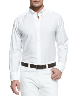 Neiman Marcus Chambray Button-Down Shirt, White
