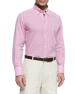 Neiman Marcus Check Poplin Button-Down Shirt, Pink