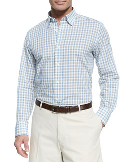 Neiman Marcus Check Woven Sport Shirt, Dark Gray