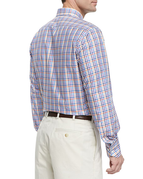 Tattersall-Check Button-Down Shirt, Purple Multi