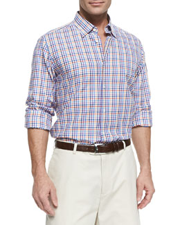 Neiman Marcus Tattersall-Check Button-Down Shirt, Purple Multi