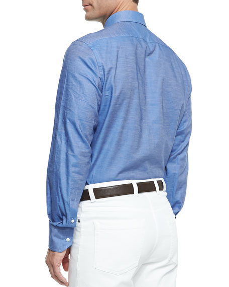 Chambray Button-Down Shirt, Blue