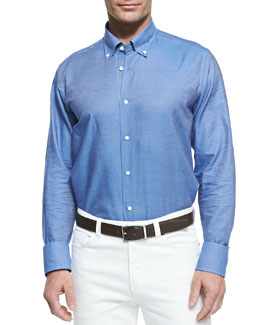 Neiman Marcus Chambray Button-Down Shirt, Blue