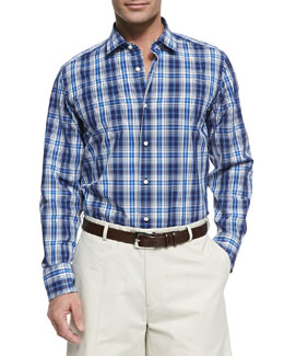 Neiman Marcus Plaid Button-Down Shirt, Blue