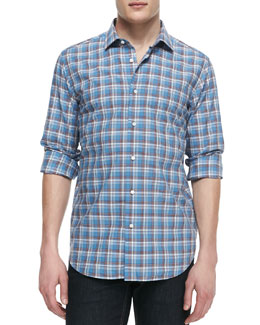 Neiman Marcus Plaid Poplin Button-Down Shirt, Blue