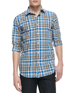 Neiman Marcus Cotton-Linen Plaid Shirt, Blue