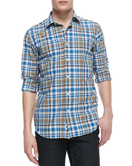 Cotton-Linen Plaid Shirt, Blue