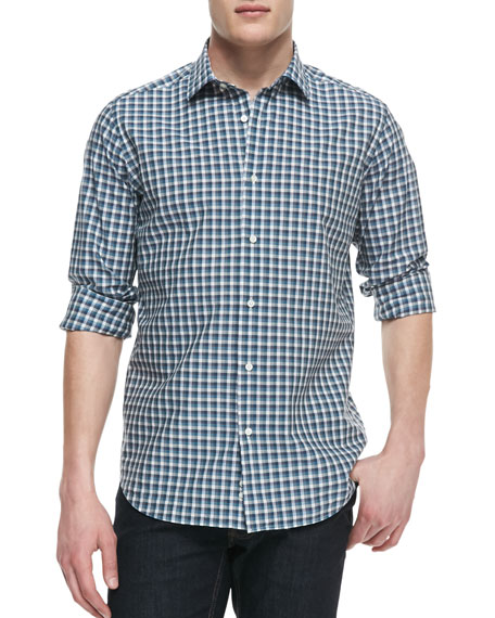 Box-Check Button-Down Shirt, Green