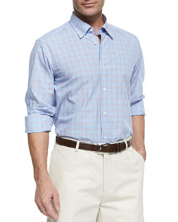 Neiman Marcus Plaid Windowpane Button-Down Shirt