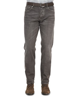 Brunello Cucinelli 5-Pocket Denim Jeans, Tobacco