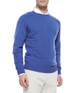 Loro Piana Cashmere Westport Crewneck Sweater, Denim