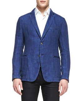 Armani Collezioni Unlined Soft Jacket, Blue