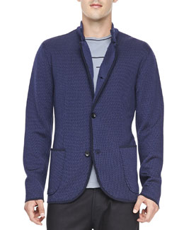 Armani Collezioni Step-Weave Knit Jacket, Blue