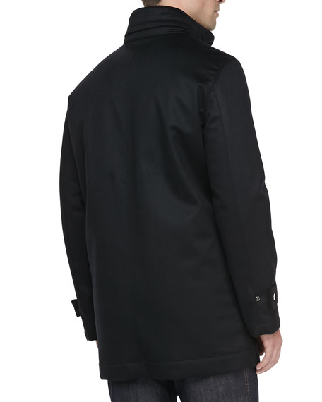 Wool/Cashmere Car Coat, Black