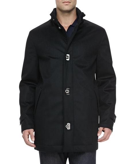 Wool/Cashmere Car Coat, Black