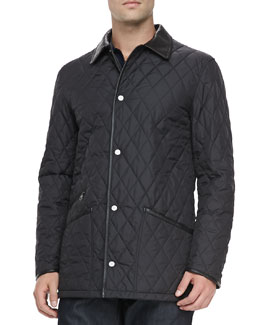 Salvatore Ferragamo Diamond Quilt Barn Coat, Black