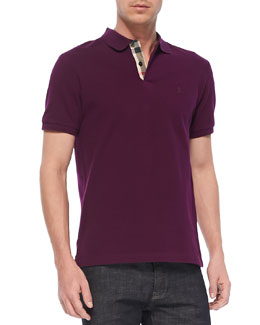 Burberry Brit Check-Detail Pique Polo, Dark Purple