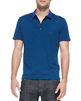 Burberry Brit Striped Jersey Polo, Cobalt/Teal