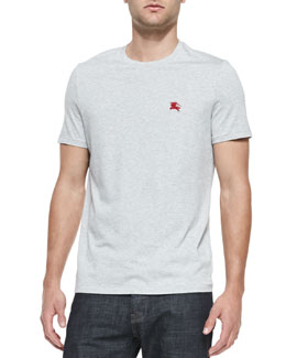 Burberry Brit Equestrian Knight Jersey Tee, Pale Gray